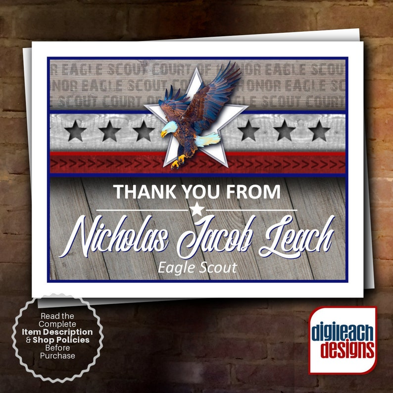 Eagle Scout Court of Honor Thank You Note: Wings and Star Bars image 0