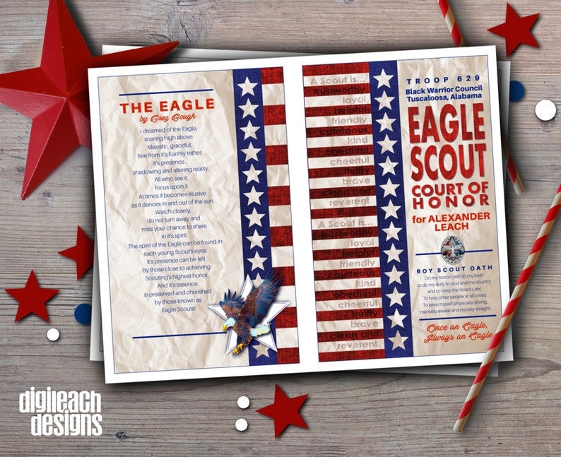 Eagle Scout Court of Honor Program Cover: Flag Law & Oath with image 0