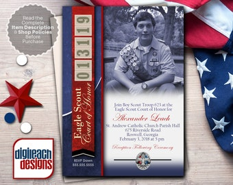 Eagle Scout Court of Honor Invitation: Leather with Unit Numbers for Date in Blue - Digital File