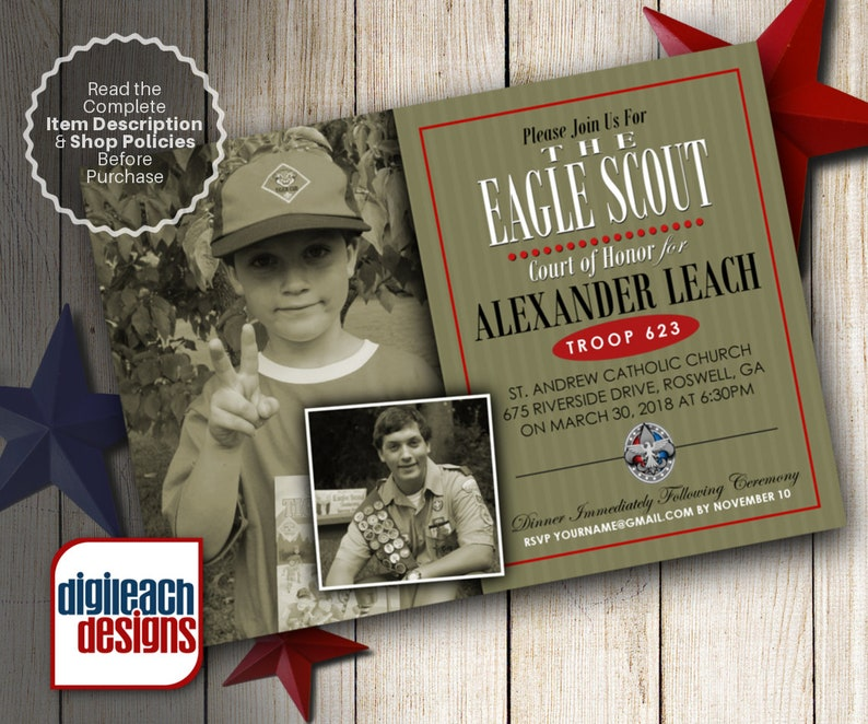 Eagle Scout Court of Honor Invitation: Olive Box with Stripes image 0