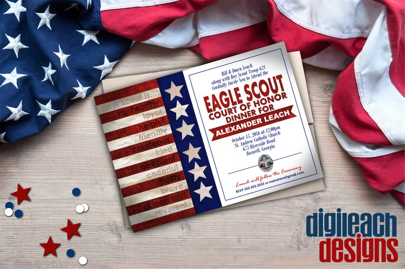 Eagle Scout Court of Honor Invitation: Flag with Scout Law  image 0