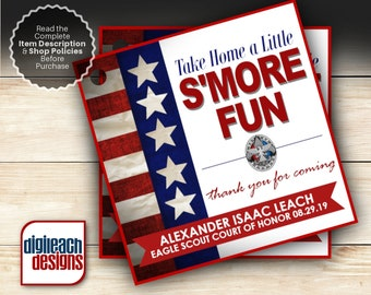Eagle Scout Court of Honor S'mores Tags: Flag Red Series - Digital File