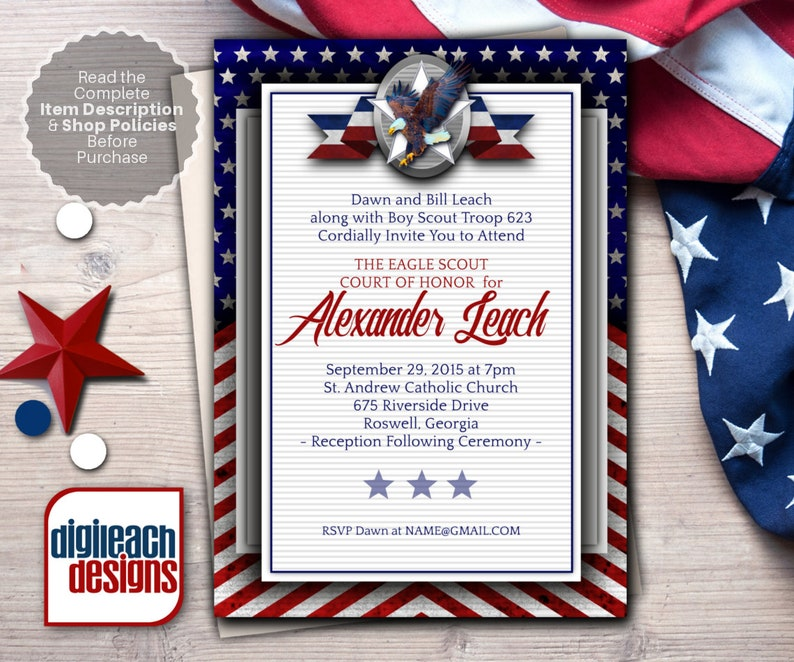 Eagle Scout Court of Honor Invitation: Patriotic Flag Ribbon image 0