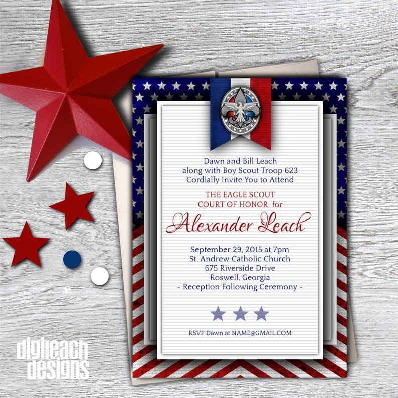 Eagle Scout Court of Honor Invitation: Patriotic Flag  image 0