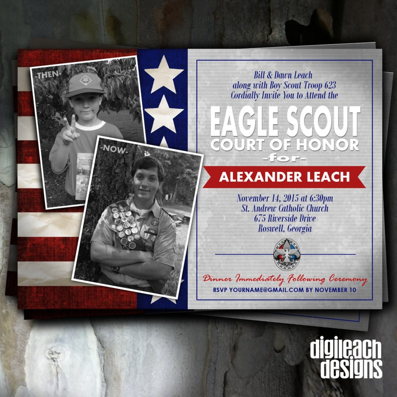 Eagle Scout Court of Honor Invitation: Flag Then and Now  image 0