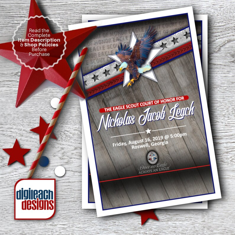 Eagle Scout Court of Honor Program Cover: Wings and Star Bars image 0