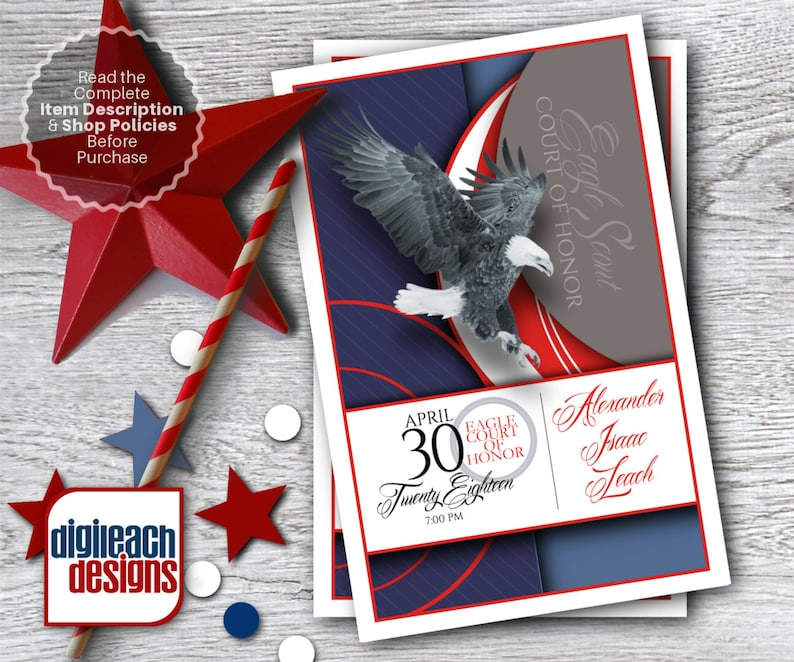Eagle Scout Court of Honor Program Cover: Patriotic and Script image 0