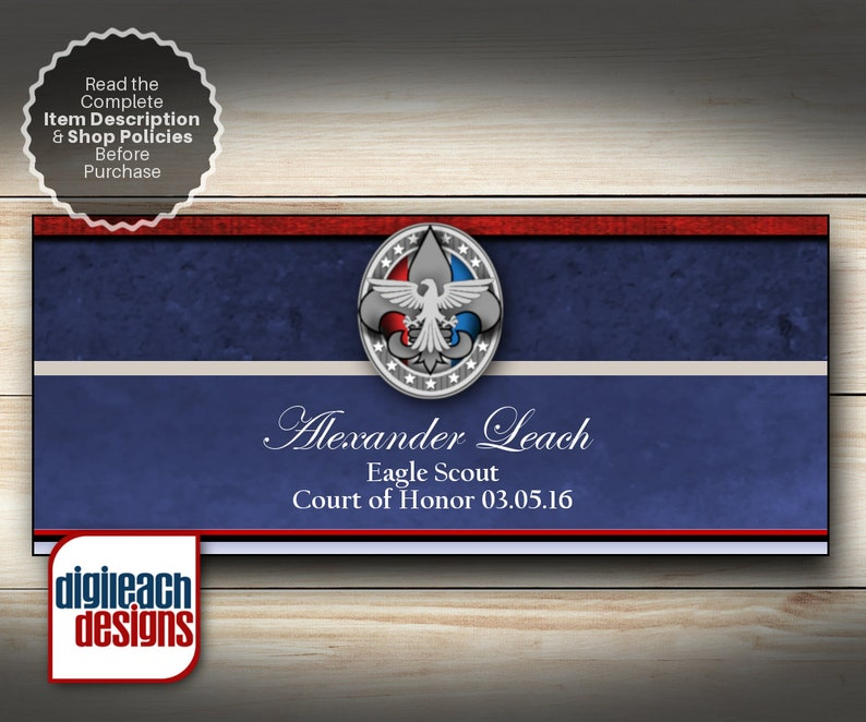 Eagle Scout Court of Honor Printable Napkin Ring Wraps: Unit image 0