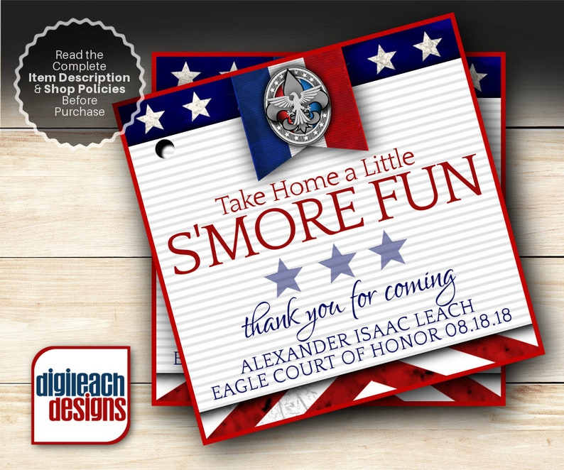 Eagle Scout Court of Honor S'mores Tags: Patriotic Flag  image 0