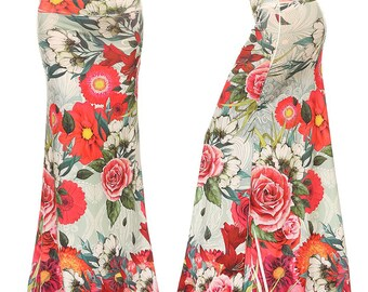 Floral red Sublimation Maxi Long Skirt Sizes S/M/L/XL/1XL/2XL/3XL
