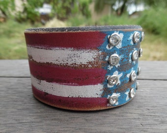 American Flag Red White Blue Stars Stripes Rustic Upcycled Leather Cuff Bracelet