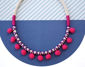 Hot pink pom pom necklace for her Coachella fashion festival jewelry, pink statement necklace cute kawaii boho chic style / HOT PINK POMMIE
