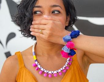 Pink Purple Pom Pom Necklace For Her Très Chic Style, Fuchsia Pom Pom Jewelry Birthday Gift, Kawaii Necklace Rope Jewelry / FUCHSIA POMMIE