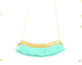 Mint Green tassel necklace for her, gift ideas for mother's day, boho chic tassel jewelry, bohemian statement necklace, tres chic / SPRING