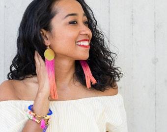Pink Orange Ombre Tassel Earrings Birthday Gift For her, Fuchsia Statement Earrings Boho Chic Look, Festival Earrings  / PINK PASSION