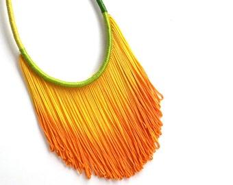 BIRD Of Paradise // Fringe Necklace, Boho Jewelry, Fringe Necklace, Statement Necklace, GIft For Her, Ombre Necklace, Yell
