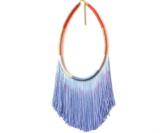 Ombre Blue Fringe Necklace For Her Festival Fashion, Blue Statement Necklace Bohemian Gift For Her, Summer Coachella Necklace / SUN-KISSED