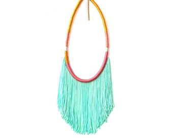 Vibrant Fresh Green Fringe Necklace For Her Summer Jewelry, Bohemian Mint Green Ombre Statement Necklace, Boho Chic Gift For Her / SUMMER