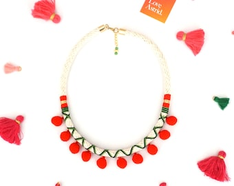 RED POMMIE / cute pom pom necklace, Gift For Her, Red and green Pom pom necklace