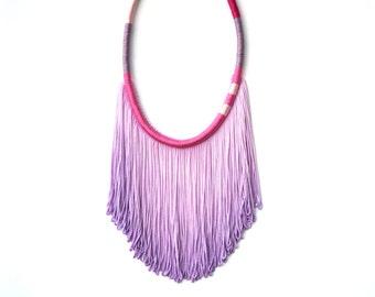 LAVENDER // Fringe Necklace, Statement Necklace, Ombre Purple Necklace, Ombre Necklace, Purple Necklace, Pink Necklace, Boho chic jewelry