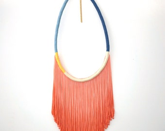 Ombre Blue Coral Fringe Statement Necklace For Her Coachella Fashion Statement, Peach Tassel Necklace Boho Chic Style, Rope Necklace / BONDI