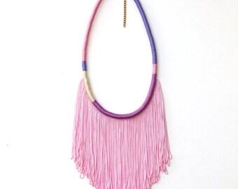 Hand Dyed Pink Fringe Necklace For Her Bohemian Style, Purple Statement Necklace Fringe Jewelry Coachella Fashion Festival Jewelry / LANNA