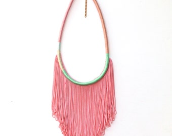 Ombre Peach-Pink Fringe Necklace For Her Boho Chic Festival Jewelry, Pastel Pink Tassel Necklace Bohemian Gift For Her Rope Jewelry / FAIRY