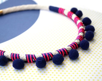 Navy Blue pom pom necklace mother's day gift for her, kawaii blue rope necklace statement jewelry, boho chic festival necklace / NAVY POMMIE