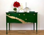 SOLD- Emerald Green Gilded Golden Wave Buffet- Painted- Metallic- Dining Room Furniture- Sideboard- Server- Buffet- Fancy- Refinished