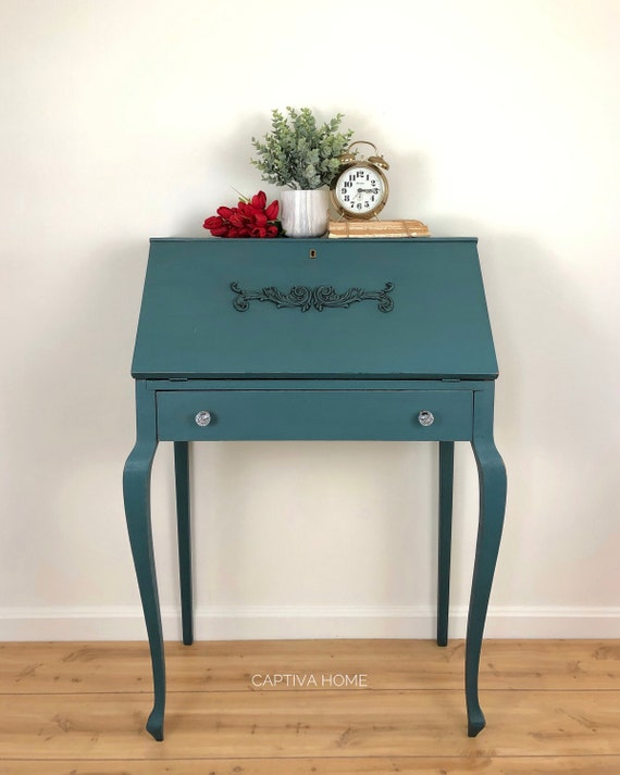 image 0 - Vintage Secretary Desk With Drop Down Writing Area Cubbies Etsy