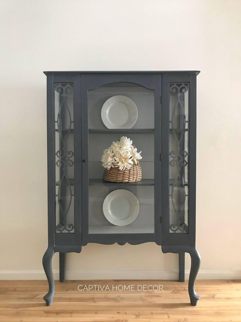 Merveilleux SOLD  Vintage China Cabinet, Elegant Curvy Legs, Handpainted Stormy  Sandstone, Blue, Grey, 3 Shelves, Lockable, Keyed Cabinet