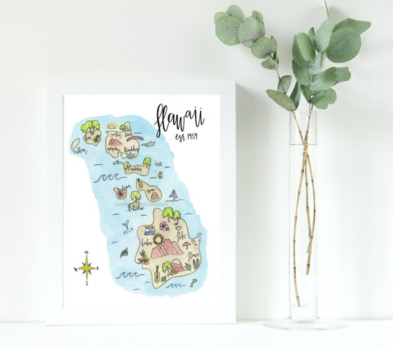 Watercolor Print Hawaii State Map Free Shipping Illustrated Etsy