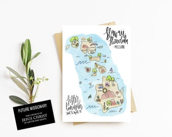 LDS Mission Map Stationary Cards With Map+FREE SHIPPING, Lds Missionary, Sister Missionary Gift, Missionary Package, Watercolor Mission Map
