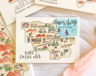 Watercolor LDS Mission Map + FREE SHIPPING Sister Missionary Gift, Missionary Gift, Elder Gift, Called To Serve,Lds, Farewell gift
