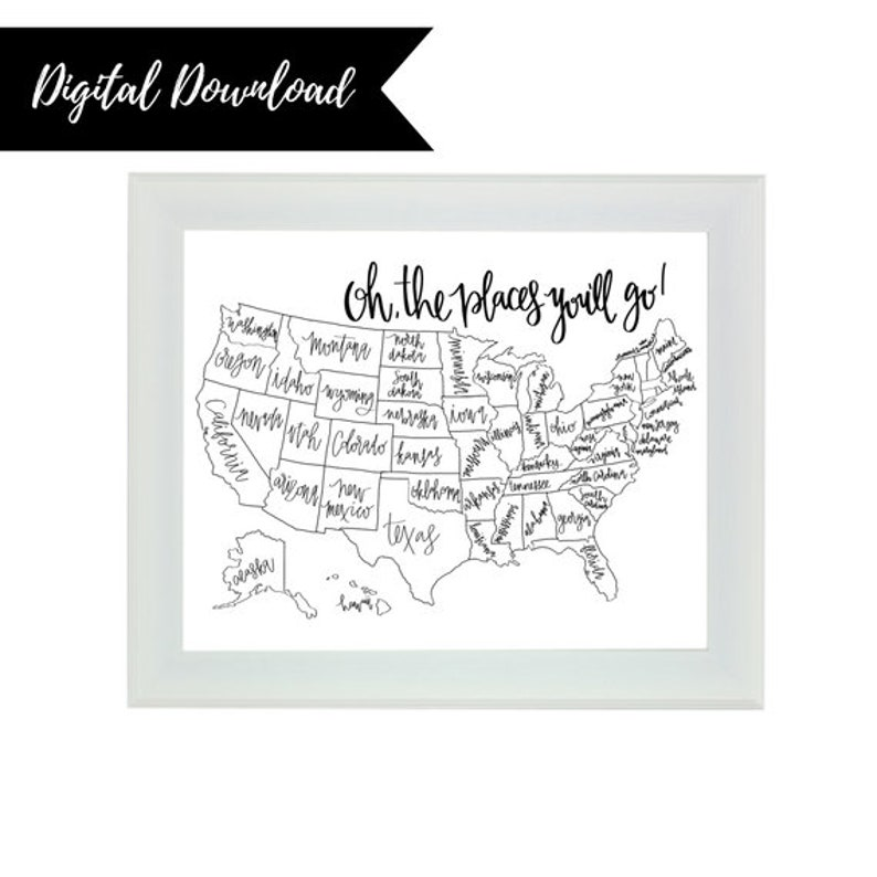 USA Color In Map Digital Download, United States Map, Color In Map, Travel  Map, Travel Print