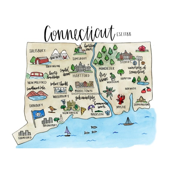 Connecticut State Illustrated Watercolor Map-Digital Print, State Map,  Connecticut Gift, Connecticut Illustration, State Map, Watercolor Map