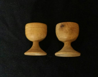 Vintage Handcarved Mini Treenware Cups