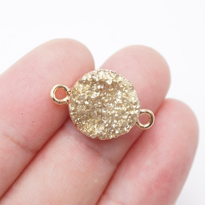 Craft Supplies & Tools 30pcs 13x9mm Gold Framed Resin White Round Druzy Drusy Charm Pendants D199A