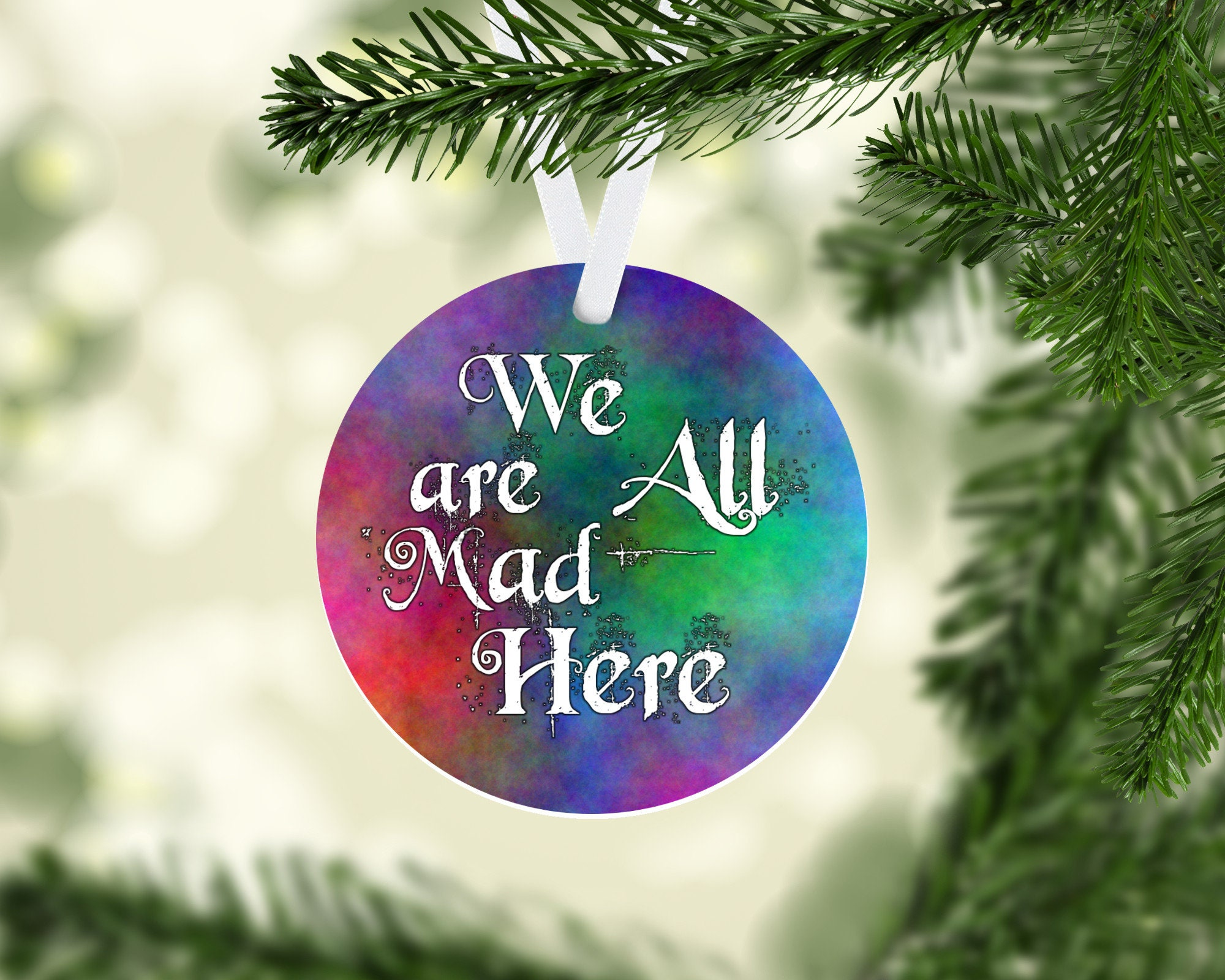 Funny christmas ornament Alice in Wonderland We are all mad here gag ...