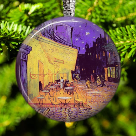 Vincent Van Gogh Terraza Cafe Vacaciones Ornamento Del árbol De Navidad Y El Imán De Frigorífico