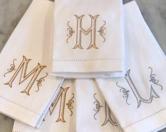 Monogrammed Cotton Hemstitched Hand Towel