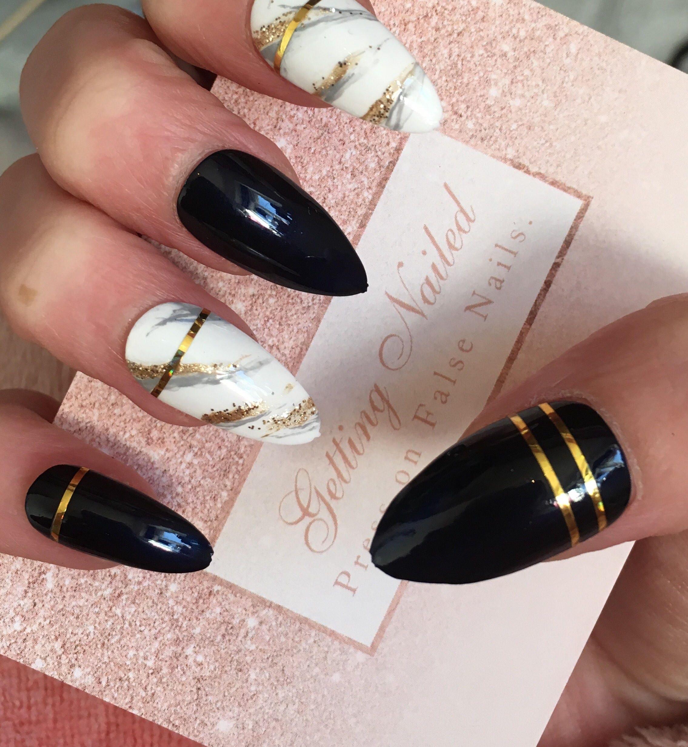 NAVY marble nails, fake nails, false nail set, press on nails, gold ...