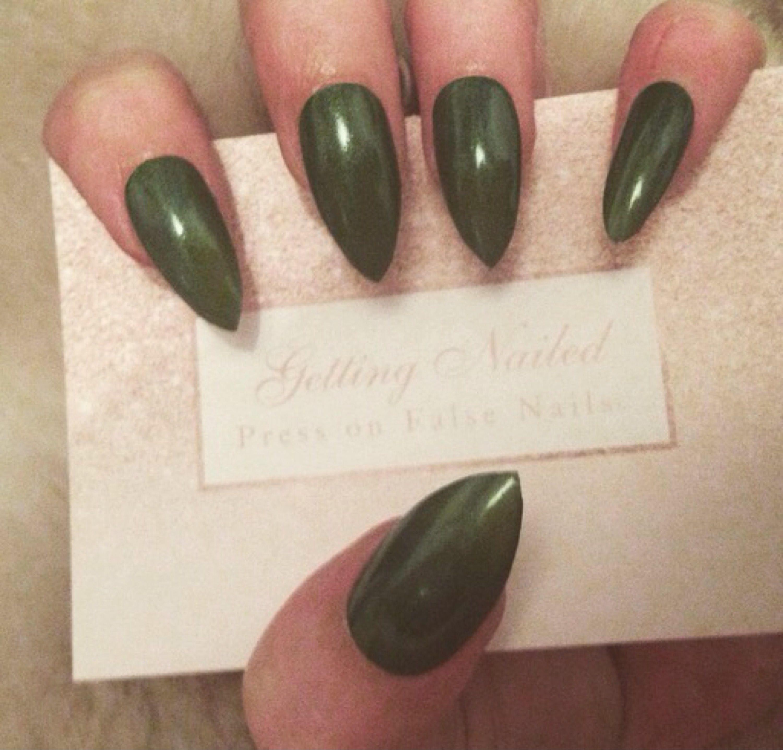 khaki green nails, army green press on false nails **stick on nail ...