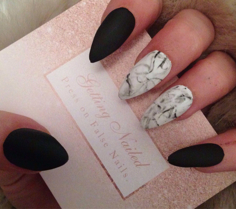 Marble false nails matte black nails marble black matte | Etsy