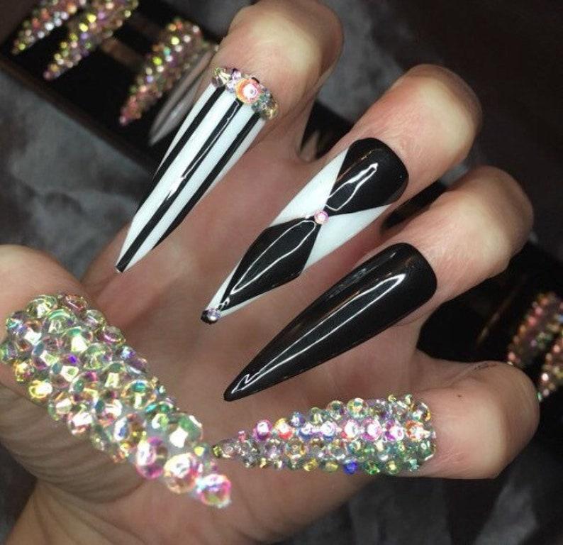 Black And White Black White Nails Diamond False Nailsretro Etsy