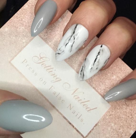 Light grey nails grey marble nails marble fake nails false | Etsy