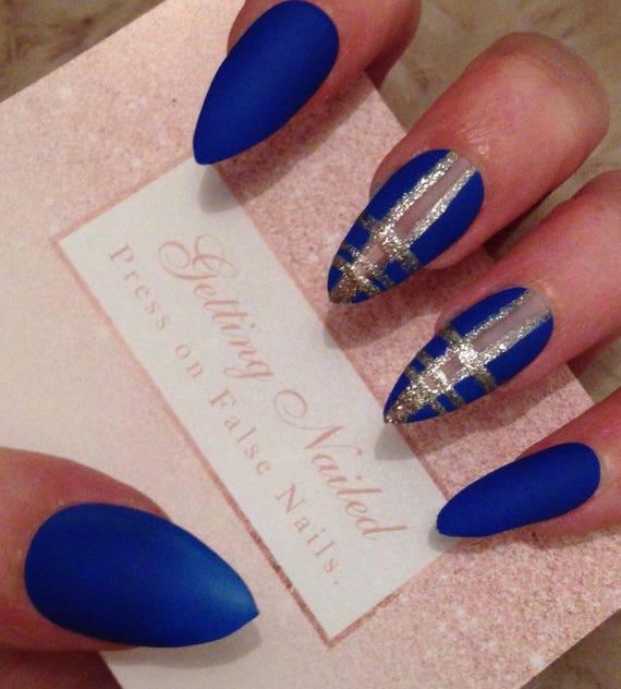 Royal blue nails matte blue nails blue false nails false   Etsy