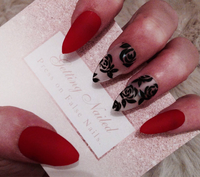 Rot Matt Nägel schwarze Blumen Nägel schwarze rose Nägel | Etsy