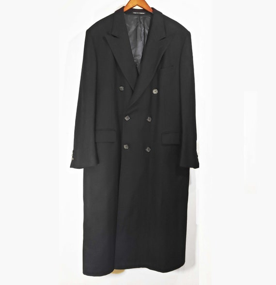Burberry Mens Navy Blue Tailored Longline Wool Dou