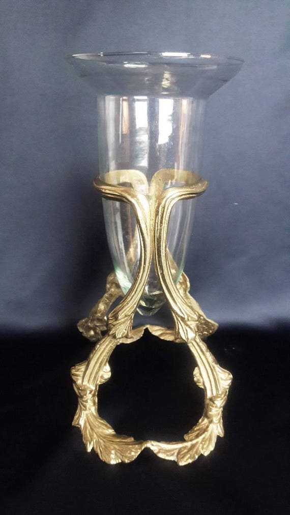 Vintage Brass Vase Holder With V Shape Vase Etsy